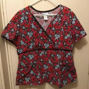 Flowered scrub top